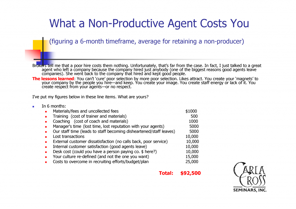 What a Non-Productive Agent Costs You with f