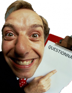 man pointing questionnaire